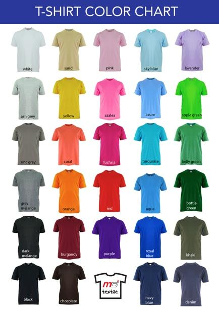 t shirt color chart display2