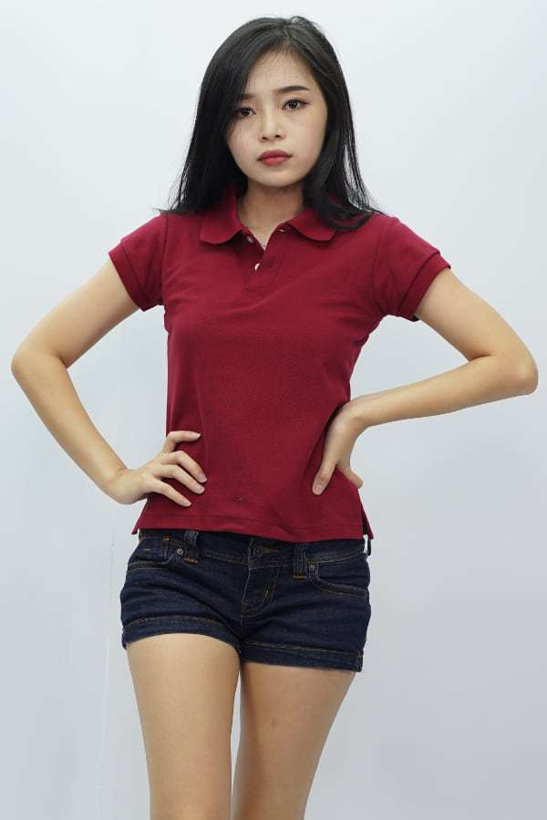Ladies Polo T Shirt Burgundy