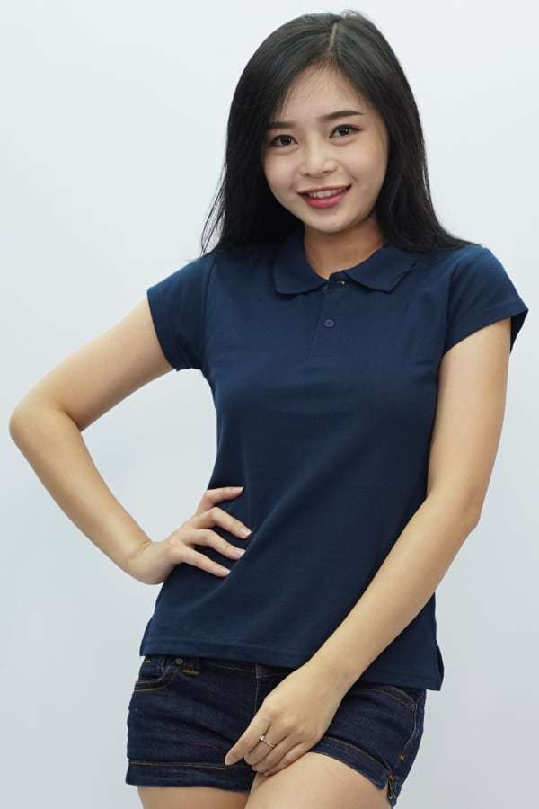Ladies Polo T Shirt Navy Blue