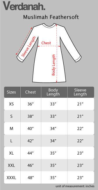 verdanah muslimah feathersoft size specification