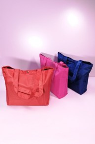 Nylon Tote Bag with Button