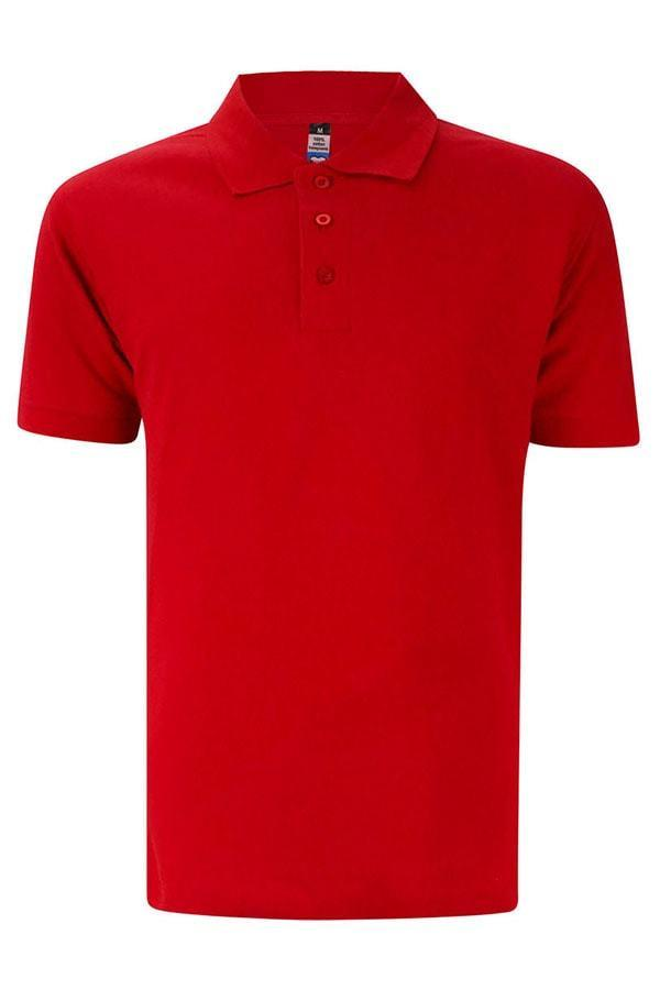 Basic Foursquare Cotton Honeycomb Polo - Red