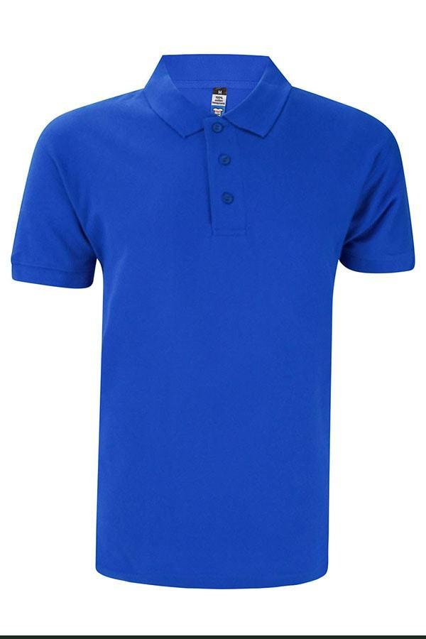 Basic Foursquare Cotton Honeycomb Polo - Royal Blue
