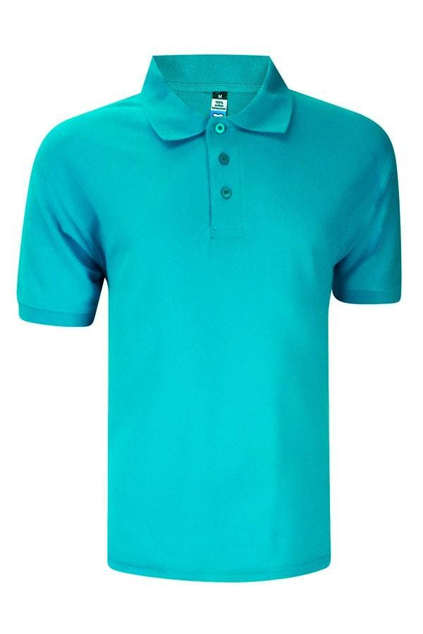 Basic Foursquare Cotton Honeycomb Polo - Turquoise