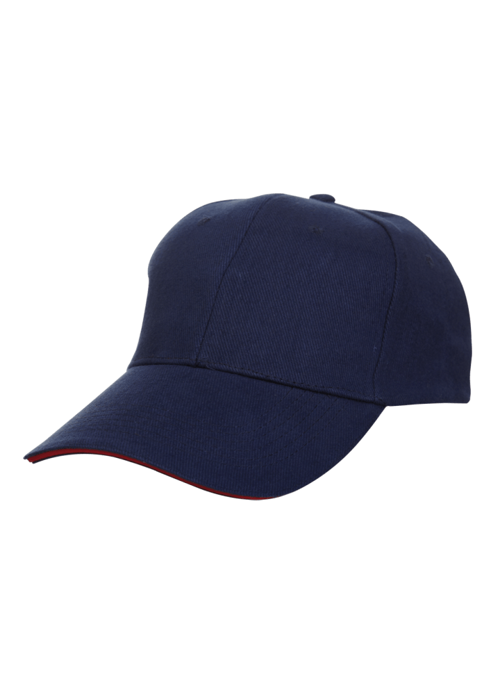 Baseball 6-panel Cotton Brush Cap - (Navyblue/Red)