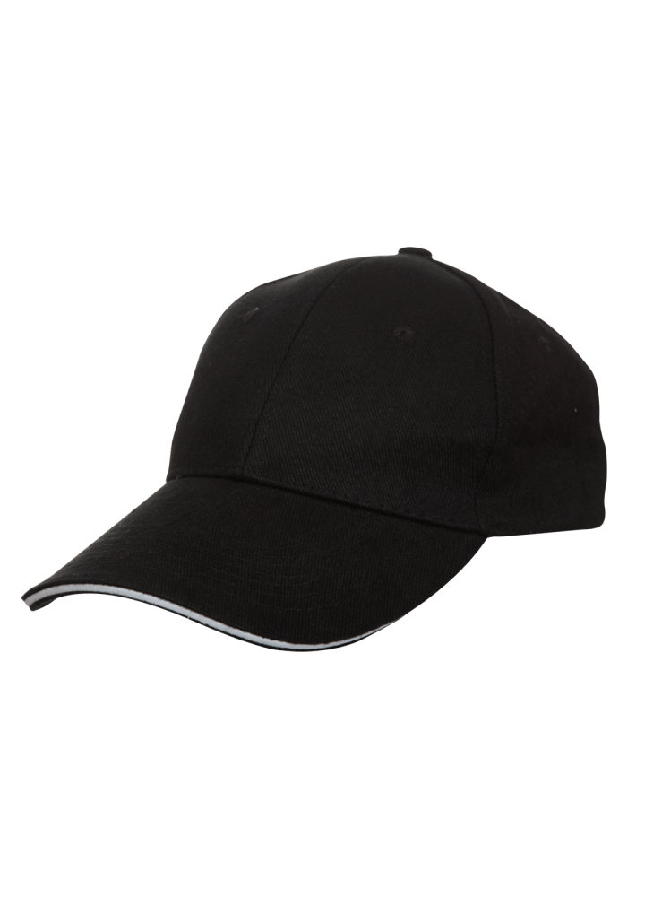 Baseball 6-panel Cotton Brush Cap - (Black/White)