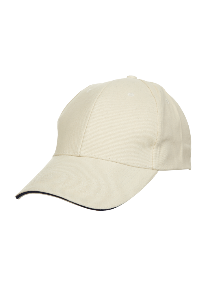 Baseball 6-panel Cotton Brush Cap - (Beige/Navyblue)