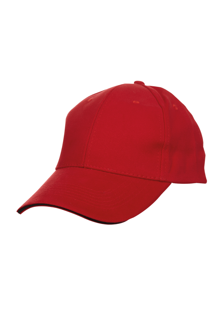 Baseball 6-panel Cotton Brush Cap - (Red/Black)