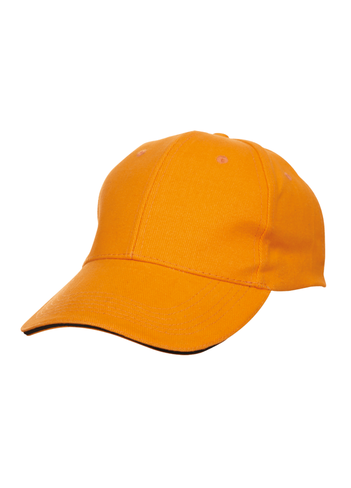 Baseball 6-panel Cotton Brush Cap - (Orange/Black)
