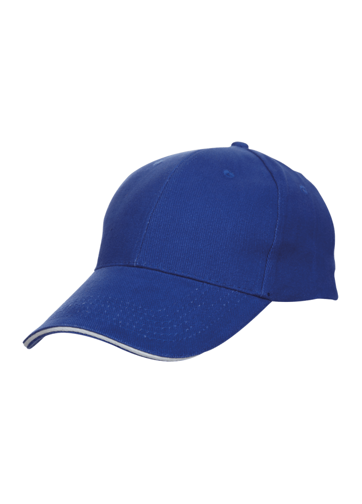 Baseball 6-panel Cotton Brush Cap - (Royal Blue/ White)