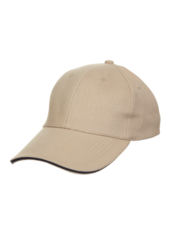 Baseball 6-panel Cotton Brush Cap - (Khaki/Navyblue)