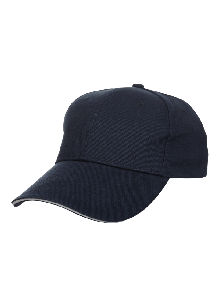 Baseball 6-panel Cotton Brush Cap - (Navyblue/White)