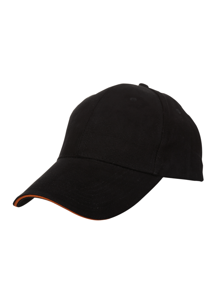 Baseball 6-panel Cotton Brush Cap - (Black/Orange)