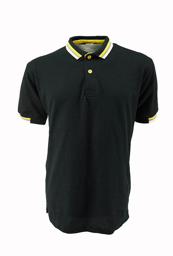 Casual Honeycombed Polo Black/Yellow/Grey