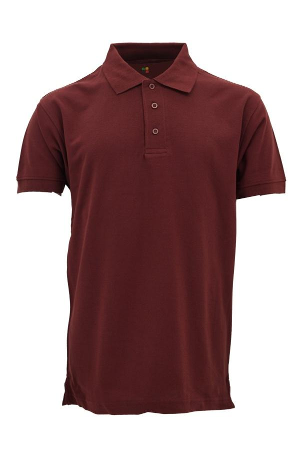 Basic Foursquare Cotton Honeycomb Polo - Burgundy