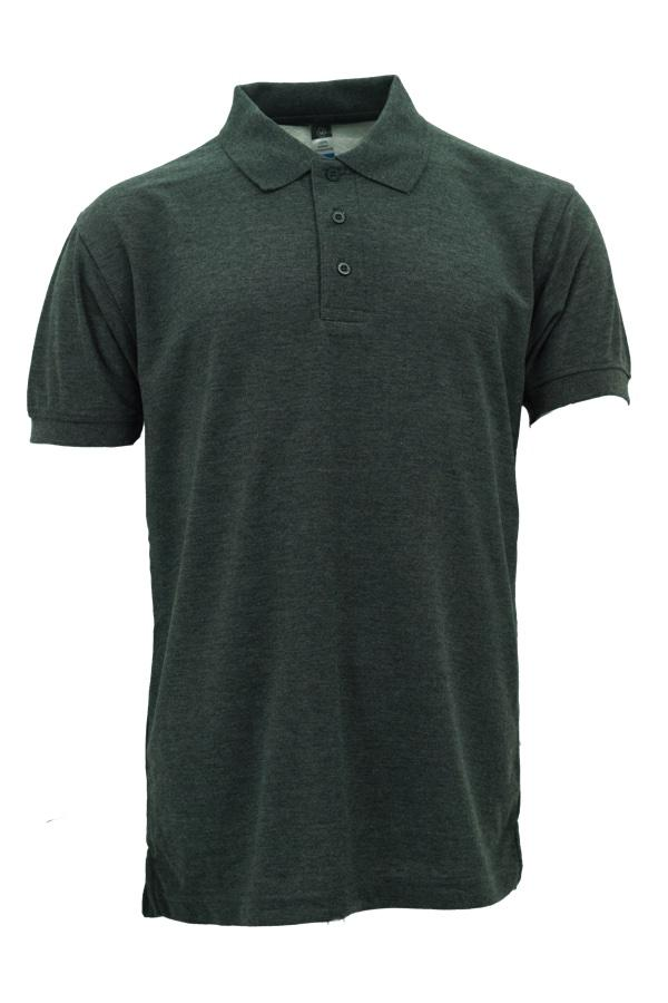 Basic Foursquare Cotton Honeycomb Polo - Dark Melange