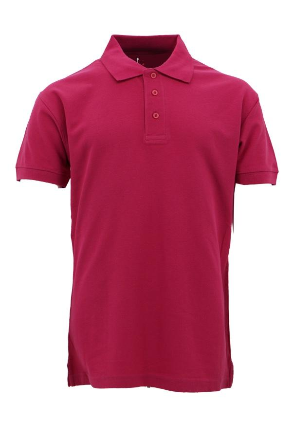 Basic Foursquare Cotton Honeycomb Polo - Fuchsia