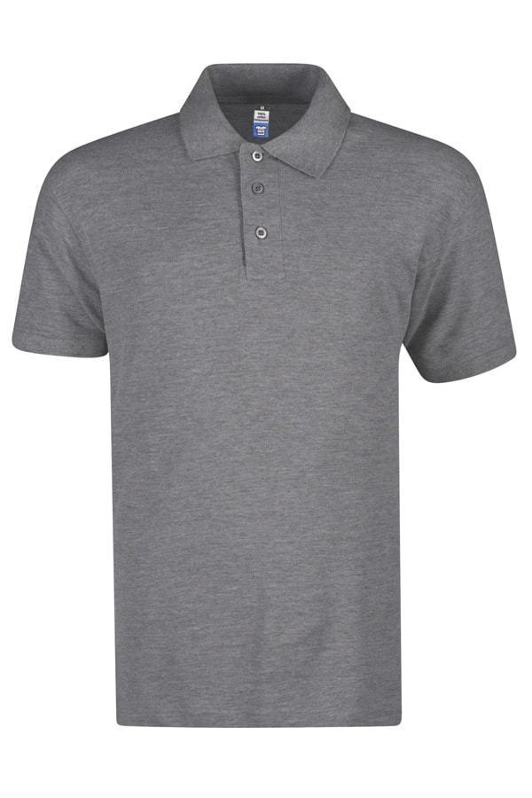 Basic Foursquare Cotton Honeycomb Polo - Grey Melange