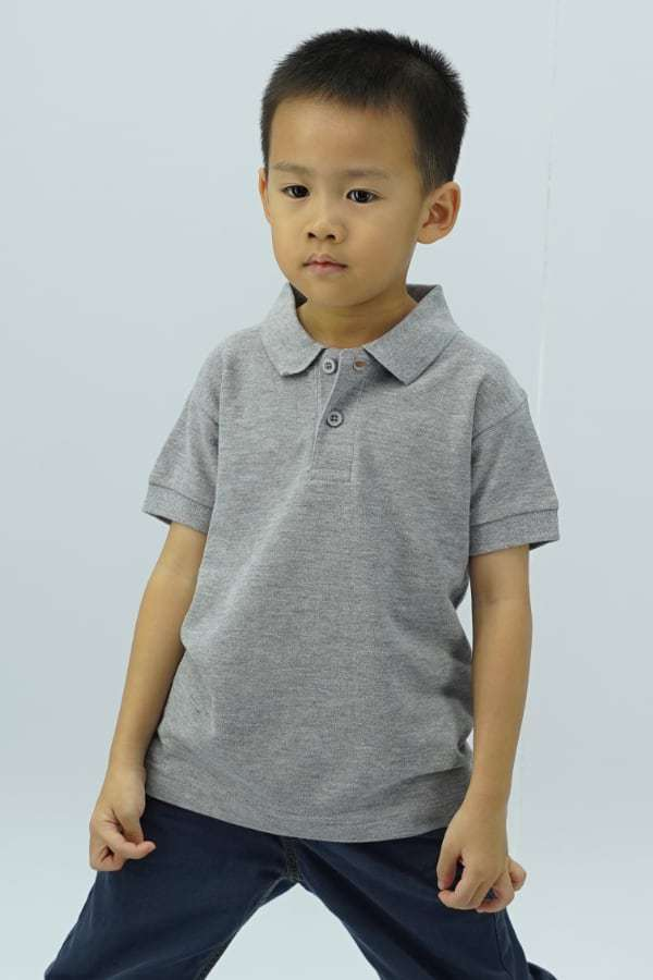 Kids Polo - Grey Melange