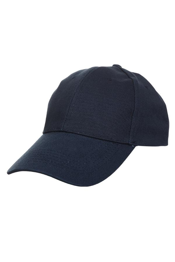 6 Panel Basic Cotton Brush Cap - Navy