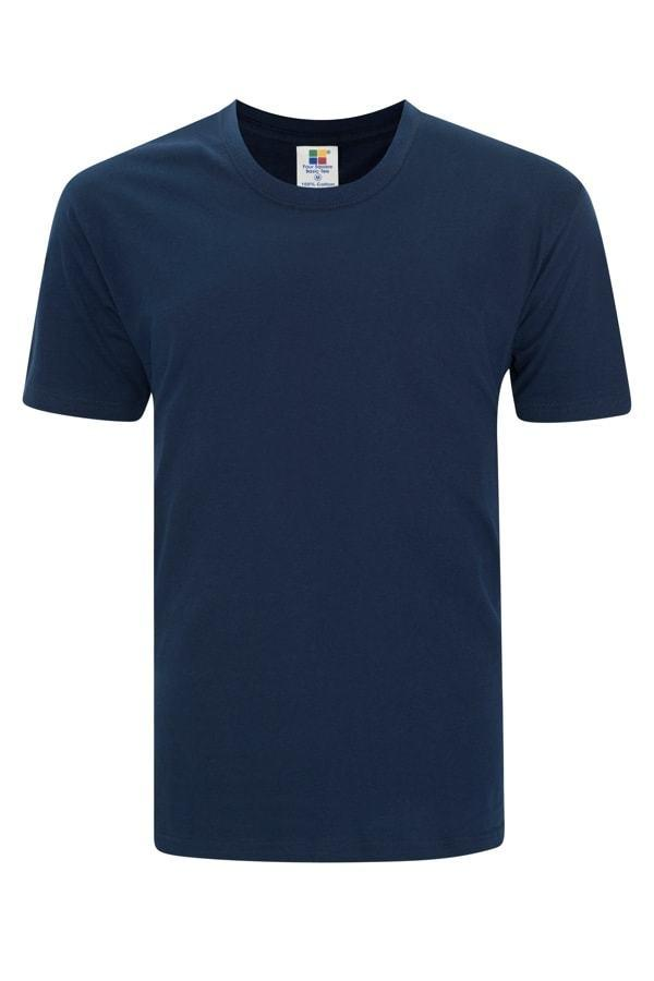 Enzyme Washed Round Neck Navy Blue T-Shirt
