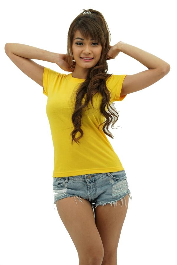 MAXIMUS Ladies Round Neck Yellow T-Shirt