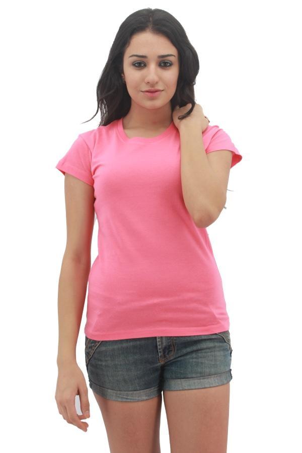 Maximus ladies round neck pink maximus ladies round neck for Round neck t shirts for ladies