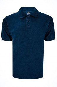 Basic Foursquare Cotton Honeycomb Polo - Navy Blue