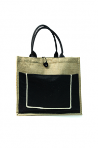 Jute Bag Black With Button