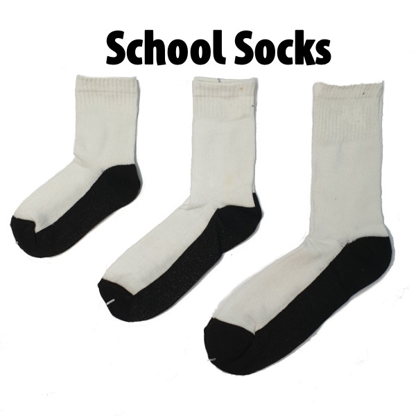School Socks - White/Black (Ready Stock)