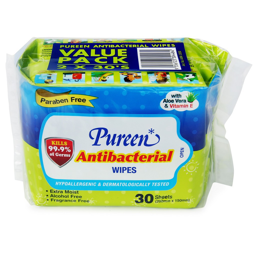 Pureen Antibacterial Wipes 2 x 30s'