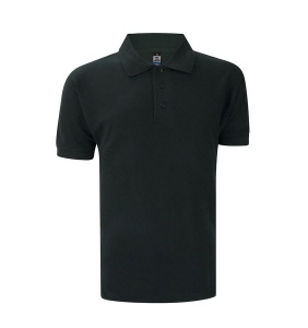 Basic Foursquare Cotton Honeycomb Polo - Black