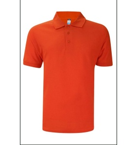 Basic Foursquare Cotton Honeycomb Polo - Orange