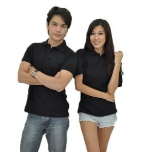 Basic Cotton Honeycomb Polo- Black