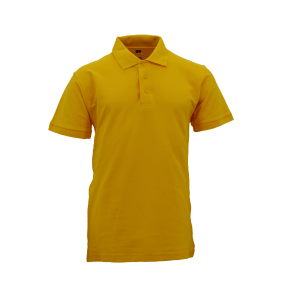 Basic Foursquare Cotton Honeycomb Polo - Yellow