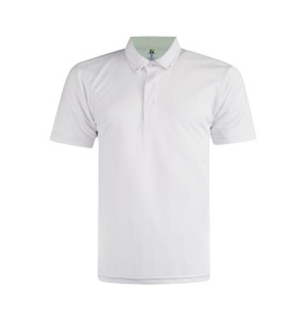 Basic Foursquare Cotton Honeycomb Polo - White