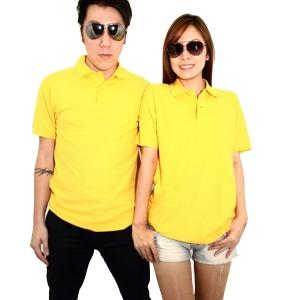No Shrink Honeycomb 100% Cotton Polo - Yellow
